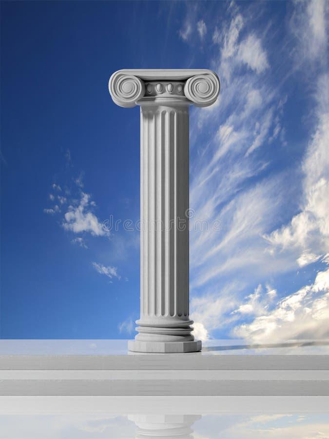 Forntida pelare med blå himmel royaltyfri illustrationer