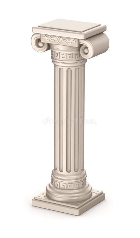 Forntida pelare på vitbakgrund royaltyfri illustrationer
