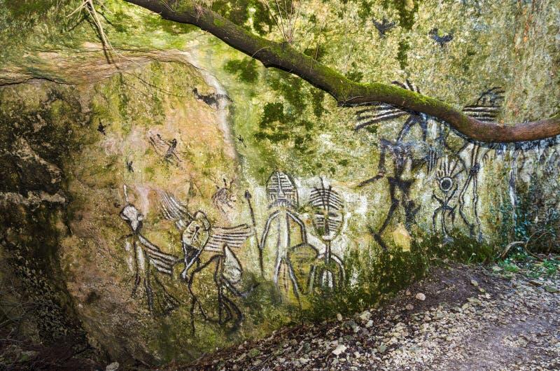 forntida petroglyphs fotografering för bildbyråer