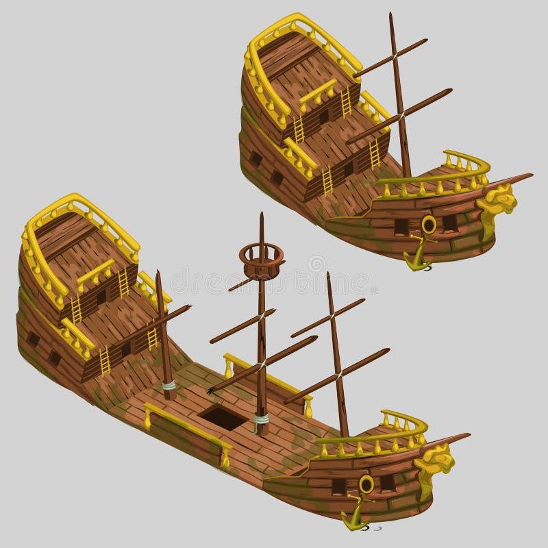 Forntida piratkopiera fartyget med två typer royaltyfri illustrationer