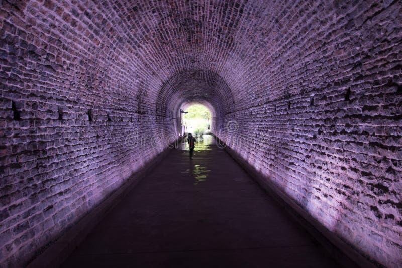Forntida Rarilway tunnel som tänds i lilor, Brockville, Kanada royaltyfri bild
