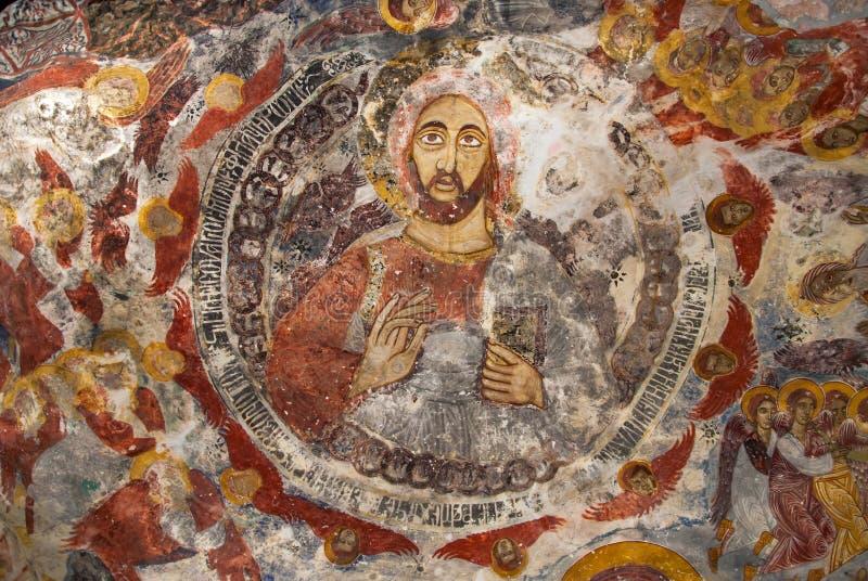 Forntida religiösa målningar i kristendomen arkivfoton