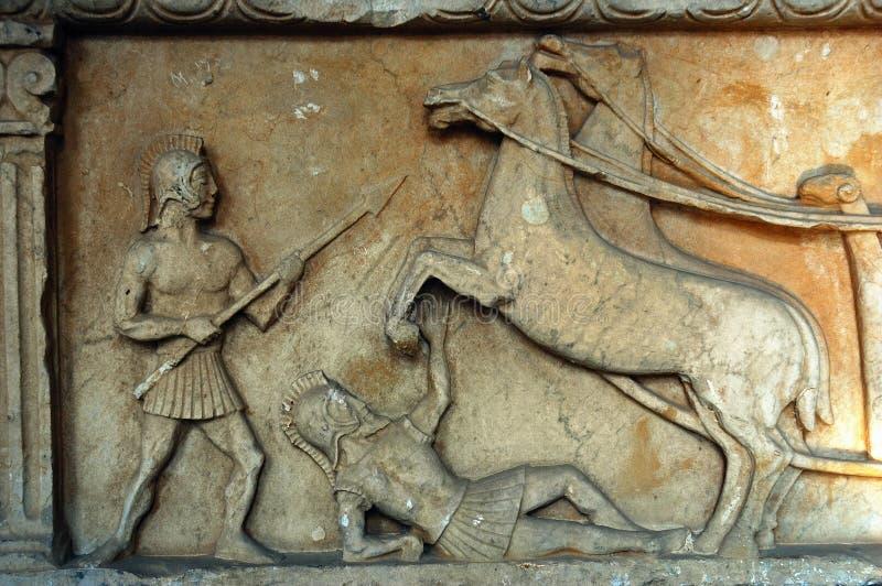 forntida roman baslättnad royaltyfria foton