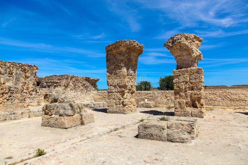 Forntida Roman Empire fördärvar av Carthage, villor i Tunisa royaltyfri fotografi