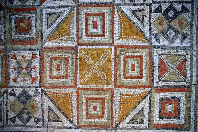 Forntida Roman Mosaic Tiles royaltyfria bilder