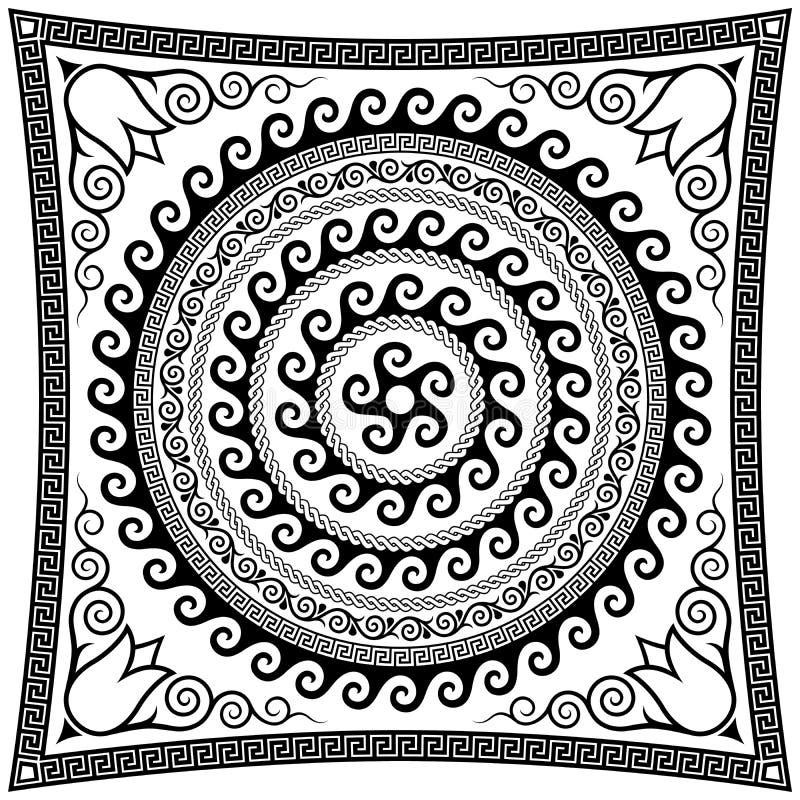 Forntida roman rund prydnad vektor illustrationer