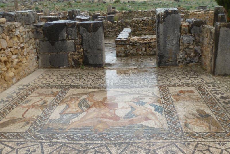 Forntida roman Volubils fördärvar och mosaiker arkivbilder