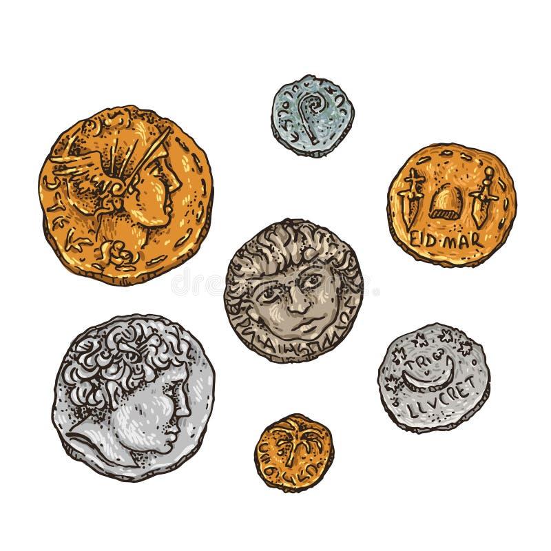 Forntida Rome mynt stock illustrationer