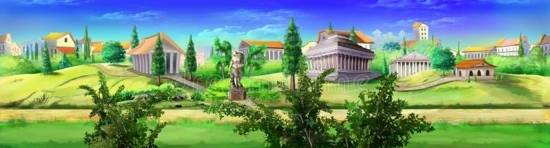 Forntida Rome panoramasikt Bild 03 stock illustrationer
