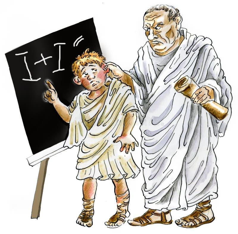 Forntida romersk lärare som bestraffar den vårdslösa schoolboyen vektor illustrationer