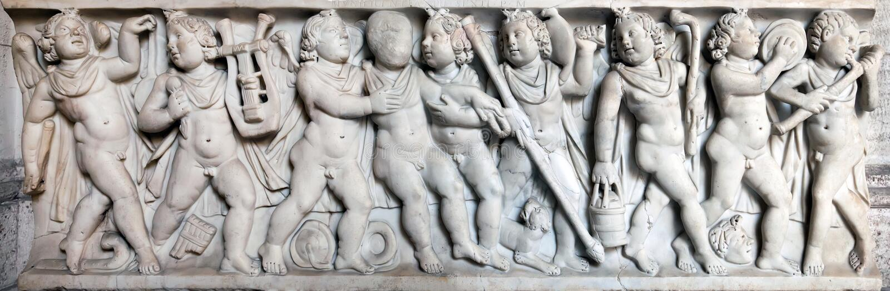 Forntida romersk sarkofag arkivbild