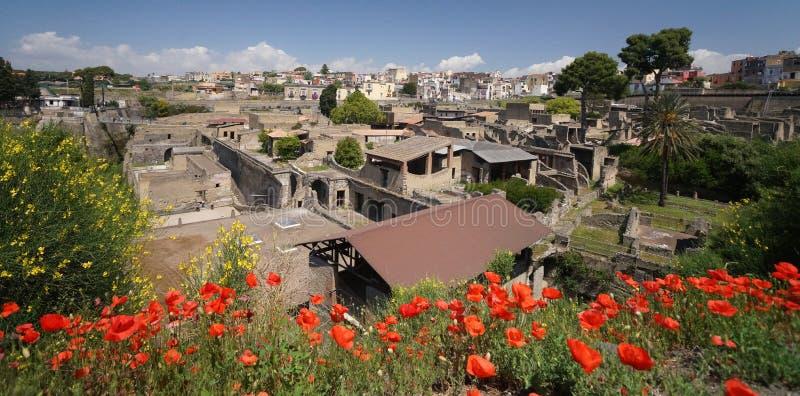 Forntida romersk stad av Herculaneum royaltyfria bilder