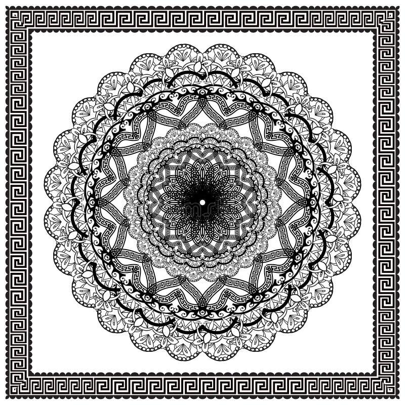 Forntida rund prydnad Vektor isolerad svart slingringarmodell på den vita bakgrunden Antik blom- tappningmandala med grek royaltyfri illustrationer