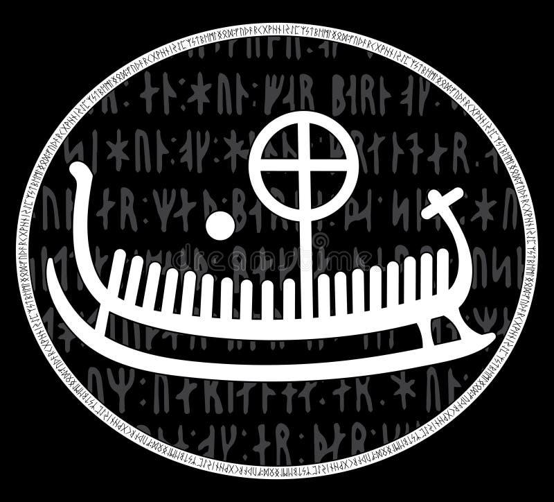 Forntida runestone med den inristade skandinaviska modellen som är drakkar stock illustrationer