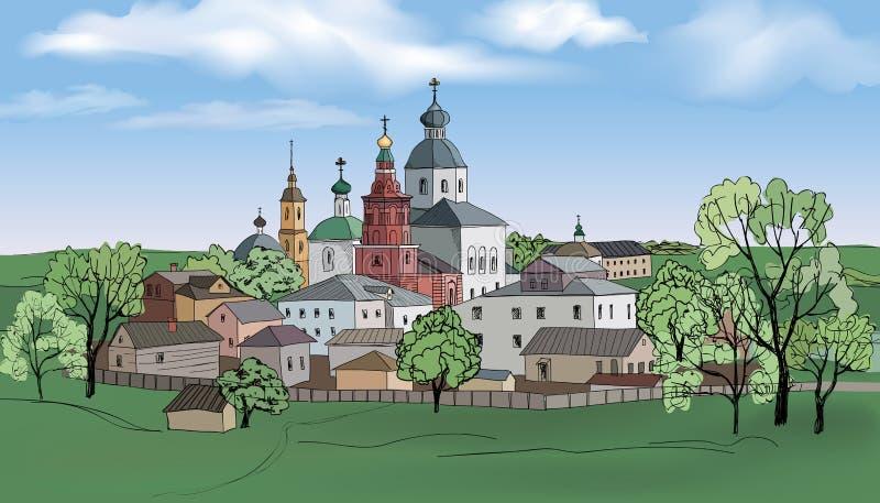 Forntida ryssstad Suzdal royaltyfri illustrationer