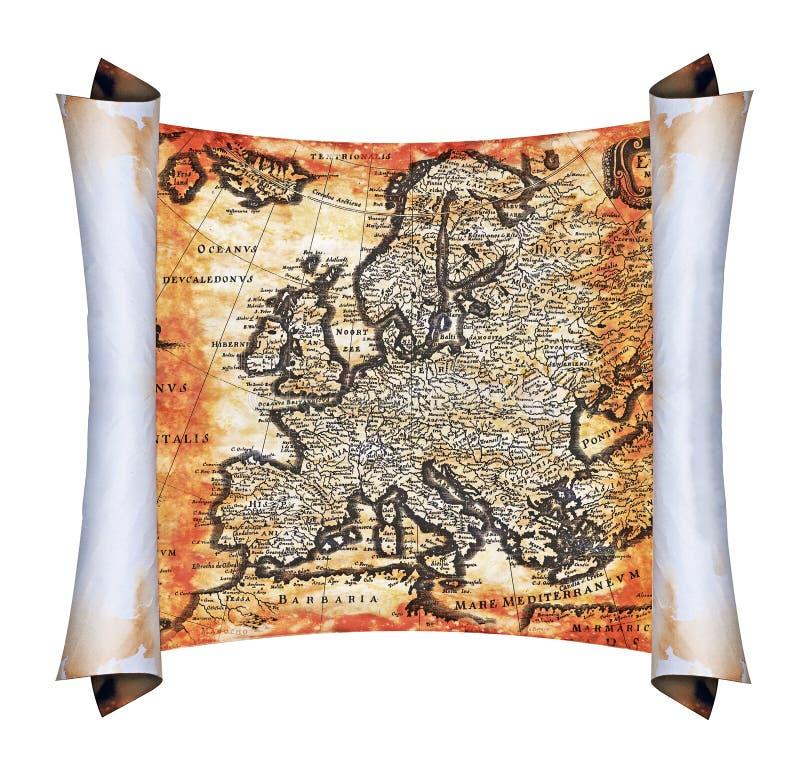Forntida Scrollöversikt av Europa vektor illustrationer