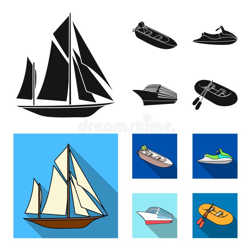 Forntida segelbåt, motoriskt fartyg, sparkcykel, marin- eyeliner Skepp och vattentransport ställde in samlingssymboler i svart, l stock illustrationer