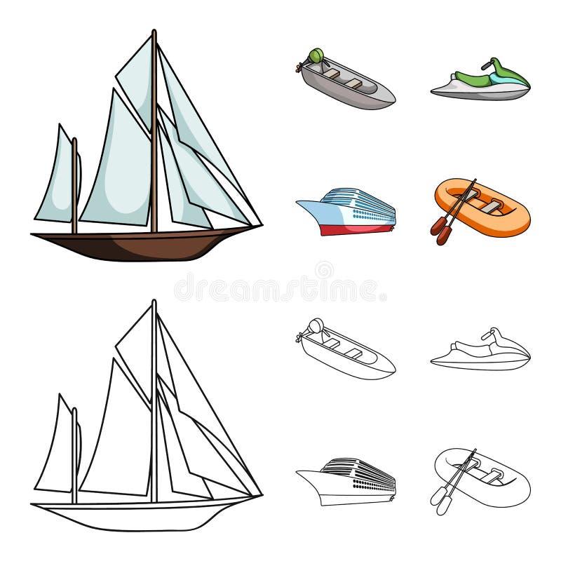Forntida segelbåt, motoriskt fartyg, sparkcykel, marin- eyeliner Skepp och vattentransport ställde in samlingssymboler i tecknade royaltyfri illustrationer