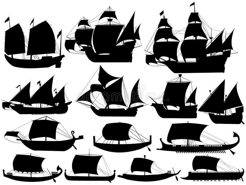 Forntida segla fartyg vektor illustrationer