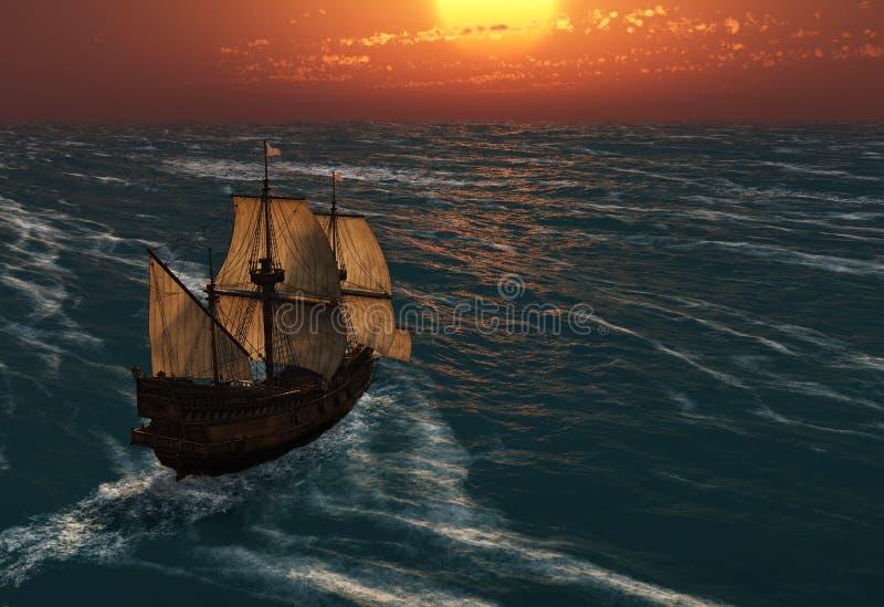 forntida seglingshipsolnedgång arkivfoto