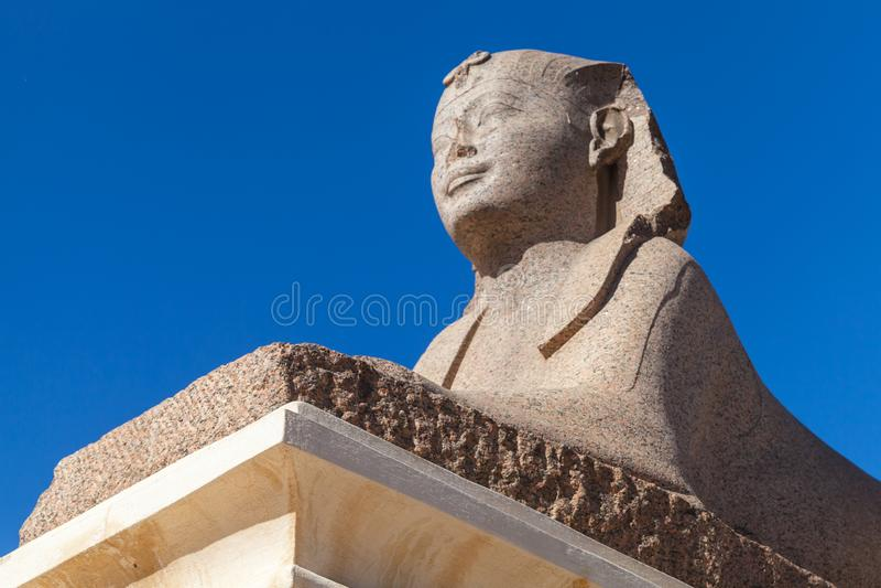 Forntida sfinx Alexandria Egypten arkivfoton