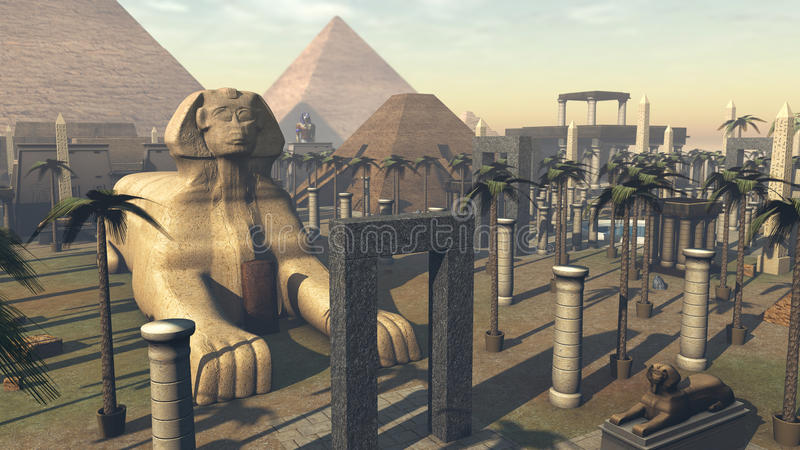 Forntida sfinx och arkitektur i en stad av Egypten framförande 3d vektor illustrationer