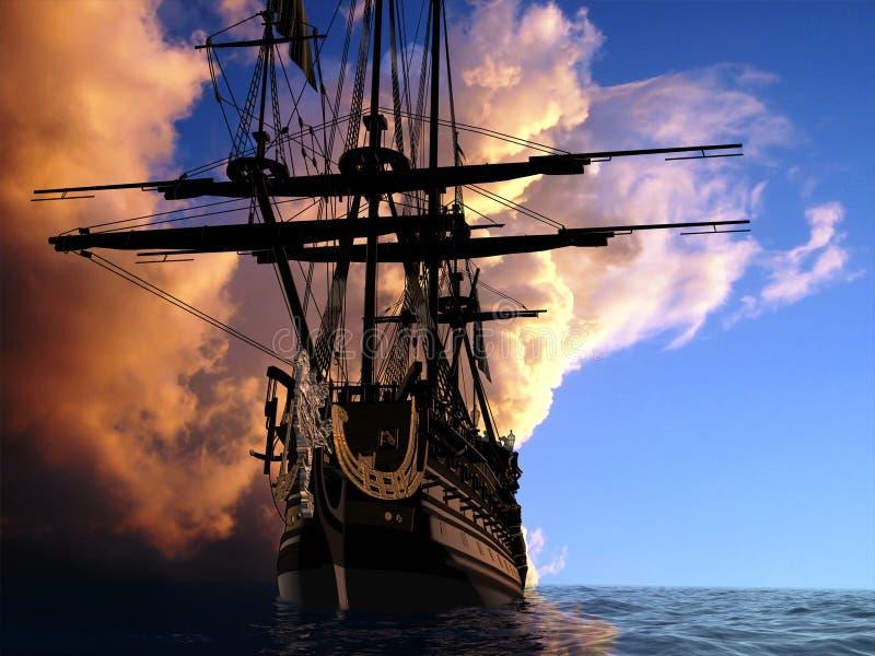 forntida ship royaltyfri illustrationer