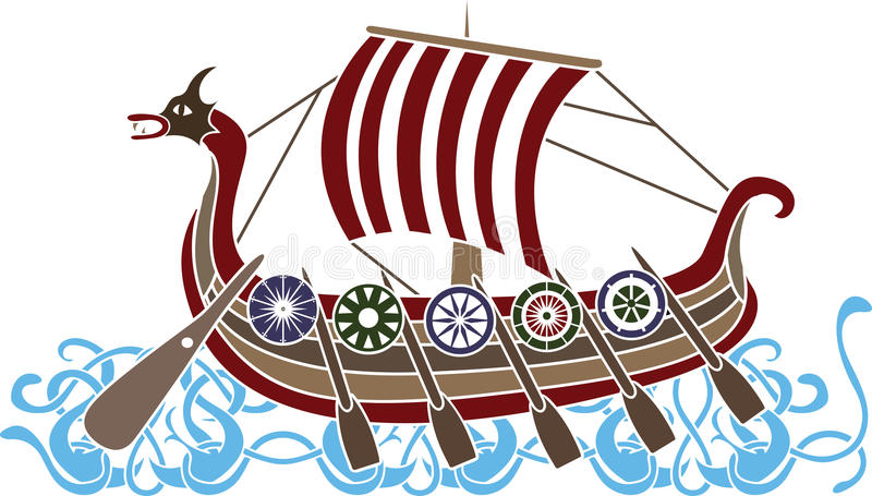 forntida ship vikings stock illustrationer