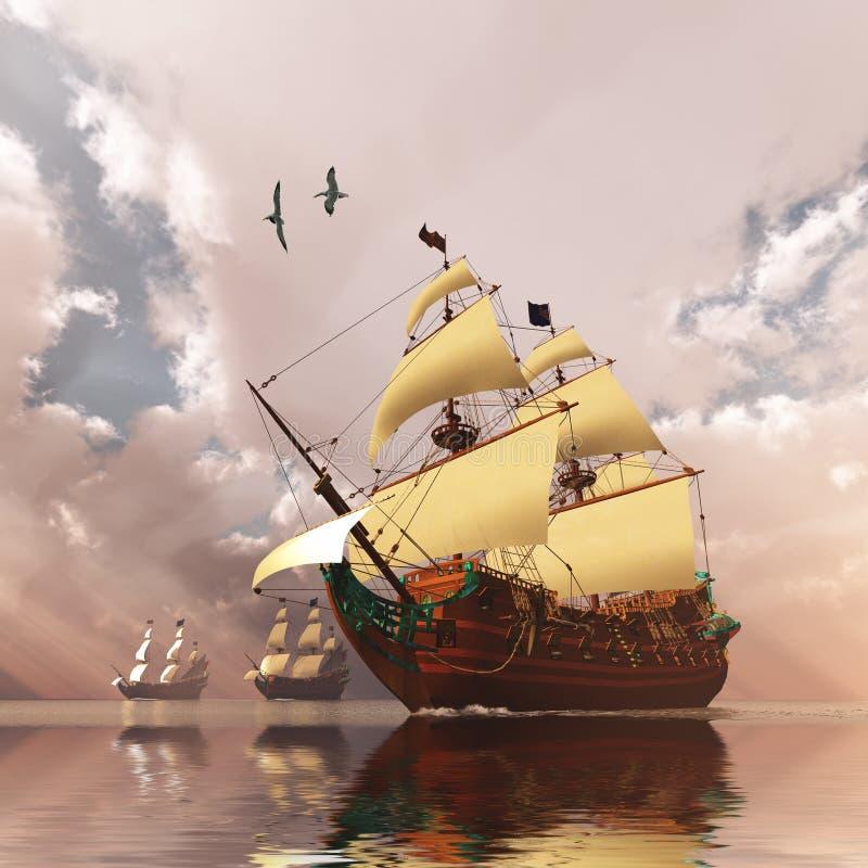 forntida ships stock illustrationer