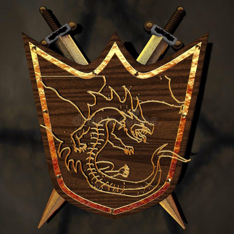 Forntida sköld med draken royaltyfri illustrationer