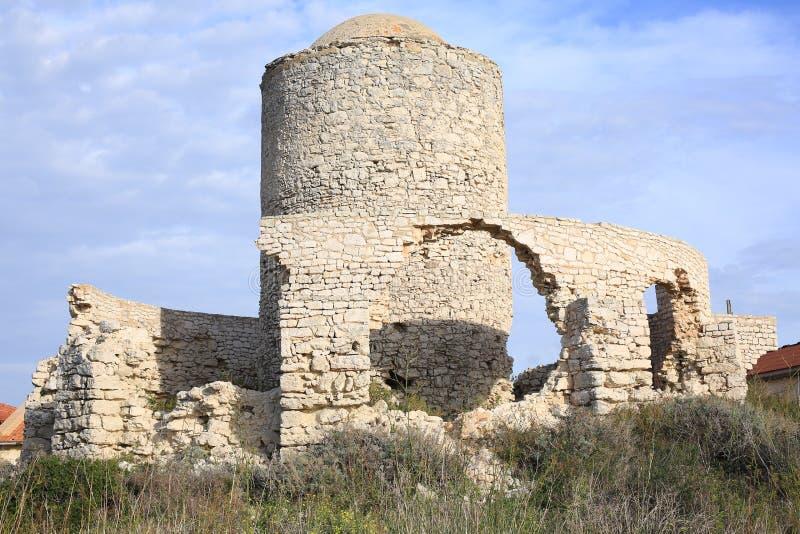 Forntida slott i Bonifacio på den Korsika ön, Frankrike royaltyfri foto
