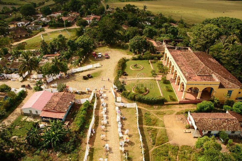 Forntida sockerfabrik i Valle de Ingenios nära Trinidad arkivfoto