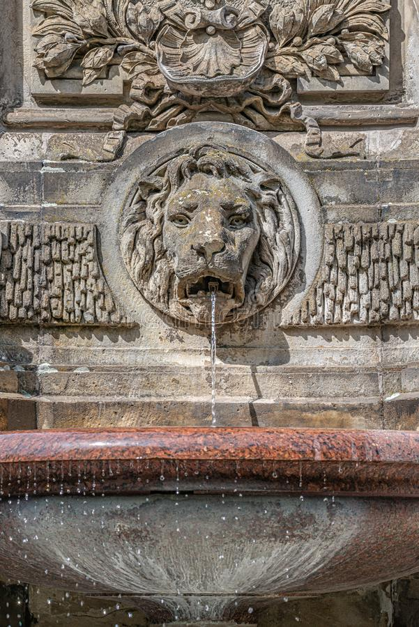 Forntida springbrunn med ett lejonhuvud och ett kallt rent vatten, Magdeburg, Tyskland royaltyfria bilder