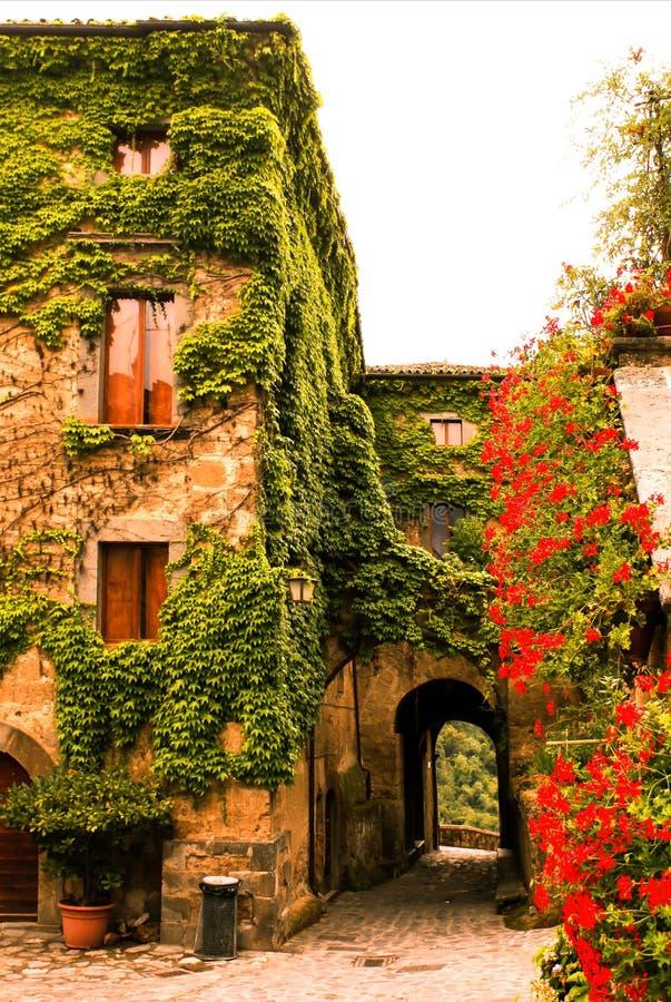 Forntida stad av civita di bagnoregio i Italien, hus av blommor royaltyfria bilder