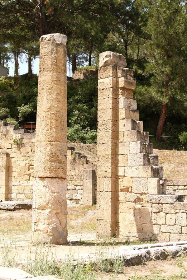 Forntida stad av Kamiros på ön Rhodes arkivbilder