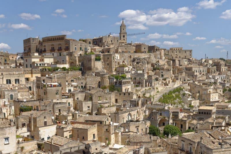 Forntida stad av Matera Sassi di Matera, Basilicata, Italien arkivbilder