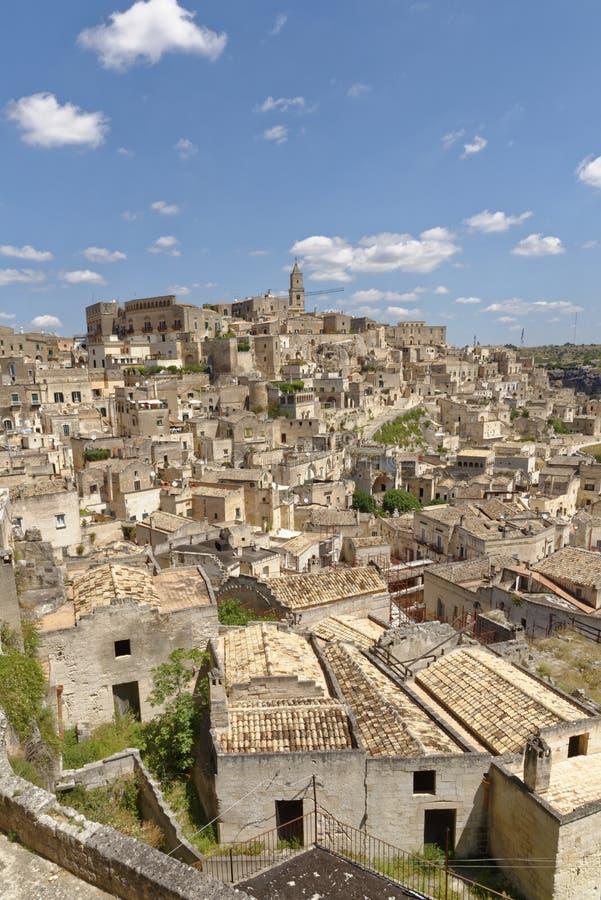 Forntida stad av Matera Sassi di Matera, Basilicata, Italien royaltyfria bilder