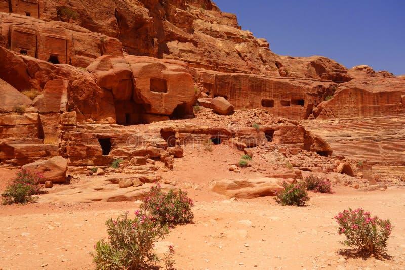 Forntida stad av Petra Jordan fotografering för bildbyråer