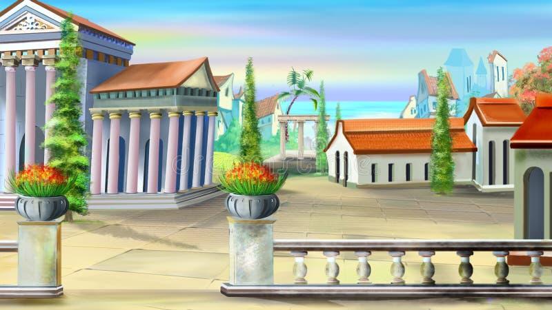 Forntida stad i en sommardag stock illustrationer