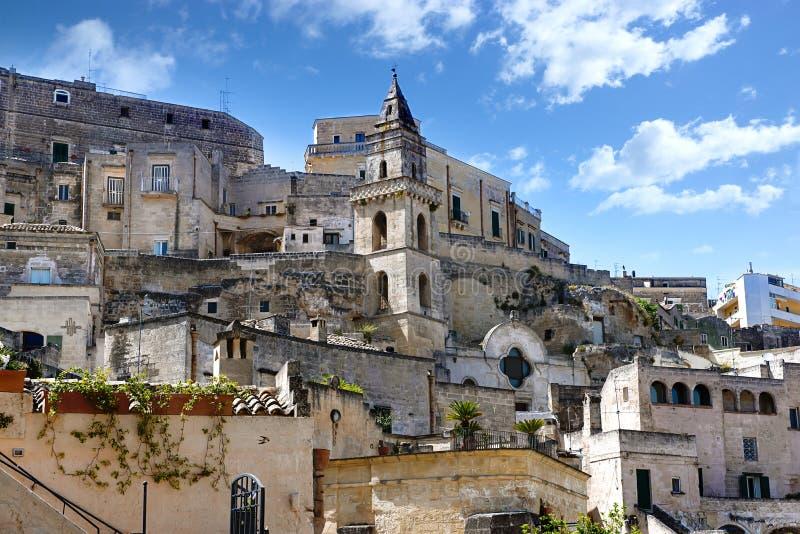 Forntida stad Matera i söderna av Italien royaltyfri foto