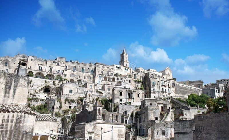Forntida stad Matera i söderna av Italien arkivbild