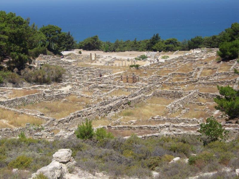 forntida stadskamiros rhodes royaltyfri bild