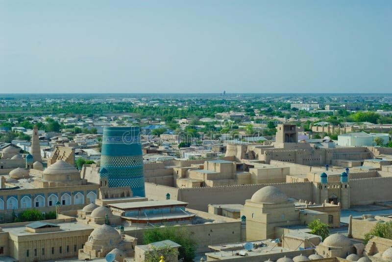 forntida stadskhivapanorama uzbekistan royaltyfria foton