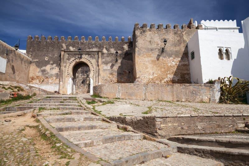 Forntida stenfästning i Madina. Tangier Marocko royaltyfria bilder