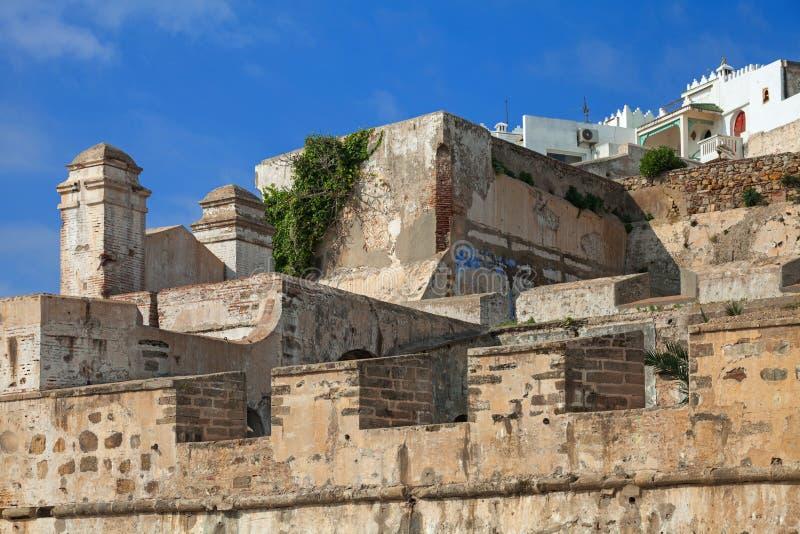Forntida stenfästning i Medina mer tangier morocco arkivfoto