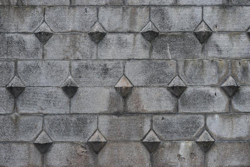 Forntida stenkvartermodell på fästningväggyttersidan Grå färger stenar bakgrund med europeisk medeltida stil Utformat materielfot royaltyfria foton