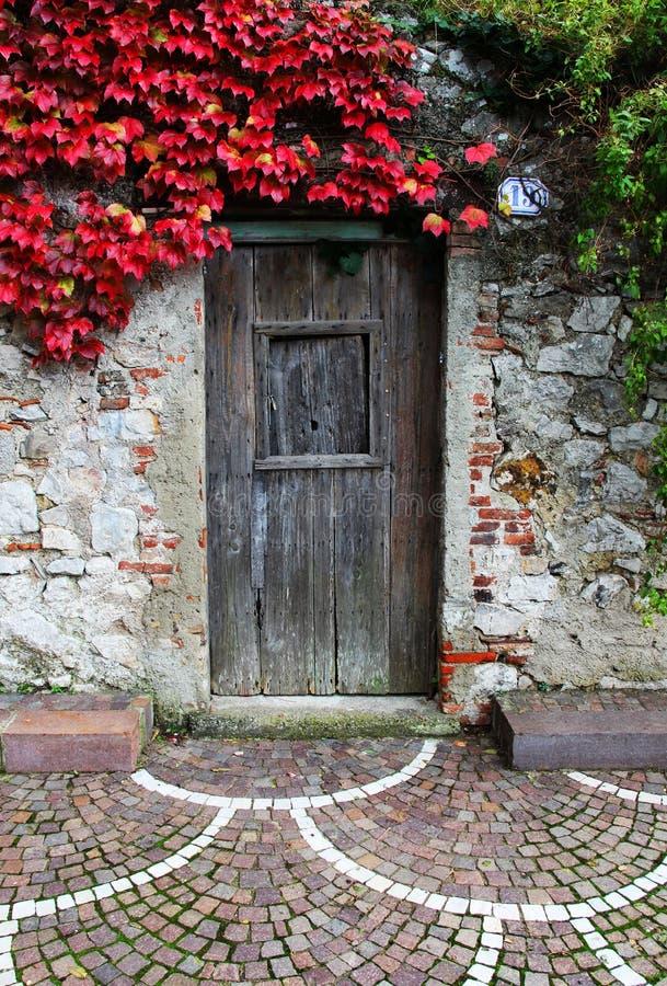 Forntida stenvägg, med den trästängda dörren arkivbild