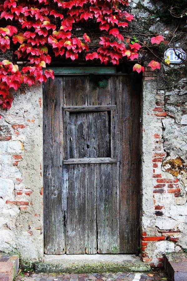 Forntida stenvägg och en trästängd dörr arkivfoto