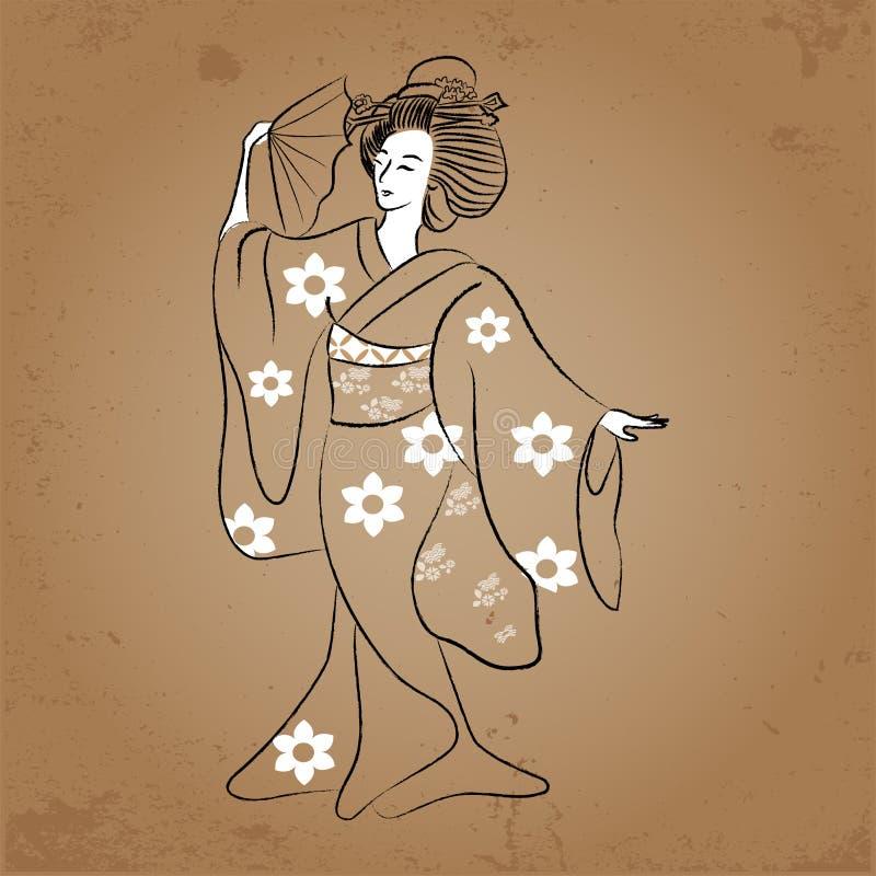 Forntida stil GeishaJapan för klassisk japansk kvinna av teckningen Dansgeisha vektor illustrationer