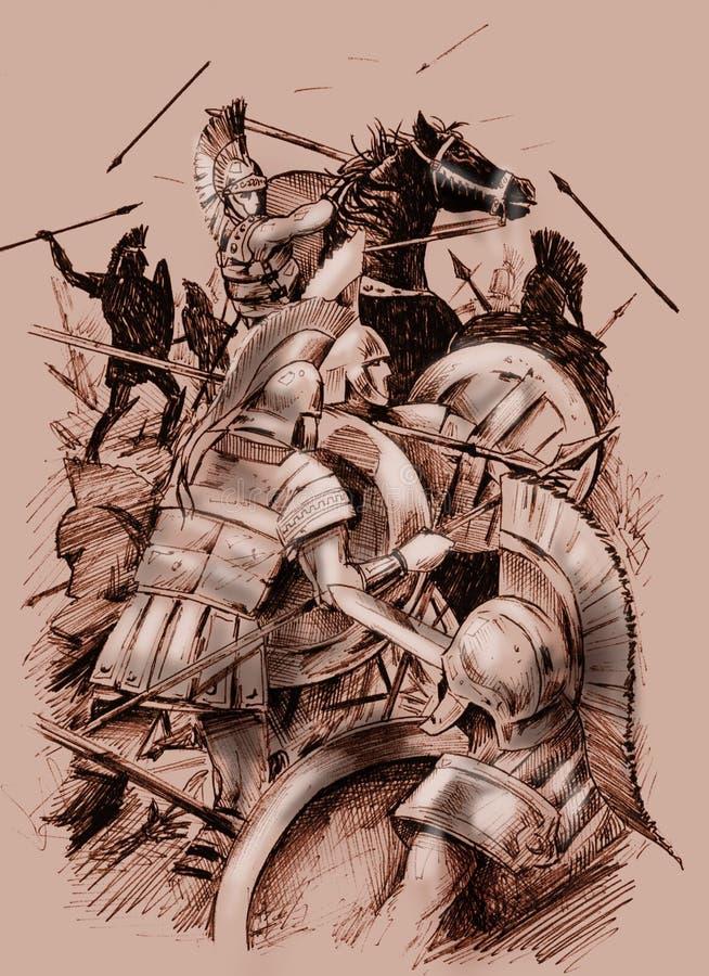 forntida strid royaltyfri illustrationer